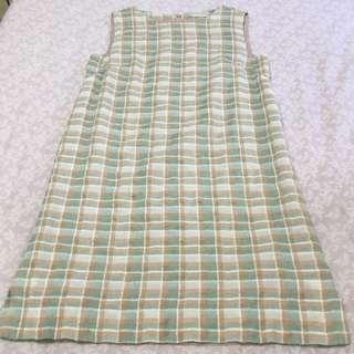 日本品牌Dazzlin 綠色格呢無袖洋裝