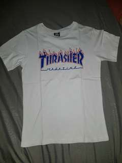 Thrasher red flame blue font t-shirt