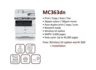 (BRAND NEW )OKI Multifunction Color Laser Printer  MC363DN  with 3 years onsite warranty .