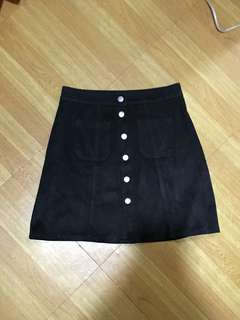 Factorie black button down skirt