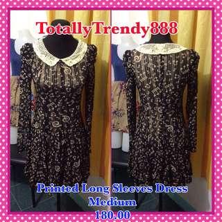 Printed Long Sleeves Dress