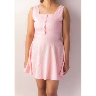 Sleeveless Flare Dress in Pink & Blue