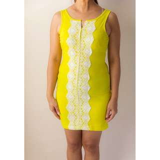 Sleeveless Neon Yellow with Lace Dress