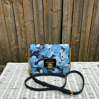 READY STOCK Michael Kors Tina Stud Small Clutch Bag Crossbody Floral In Navy