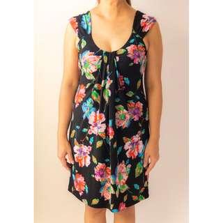 Flower Pattern Sleeveless Black Dress
