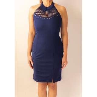 Navy Halter Neck Fit Dress with Gold Studs