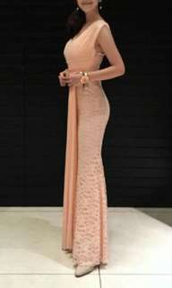 peach dinner gown dinner bridesmaid dress