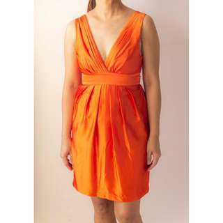 Body & Soul V Flare Orange Satin Dress
