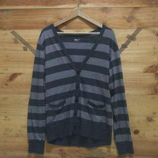 GAP mens cardigan striped black grey original