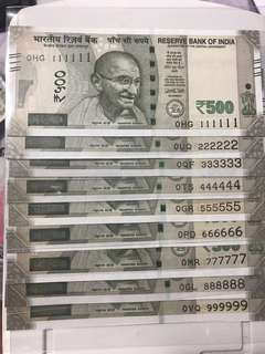 (111111 to 999999) 0 prefix Solid Number Set new indian 500 Notes Unc