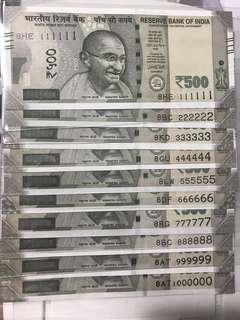 (111111 to 1000000) profit '8'  Super Solid And Solid no new indian 500 Rupees Note Set