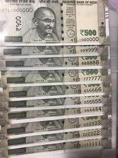 (111111 to 1000000) Solid Number new indian 500 Notes Set