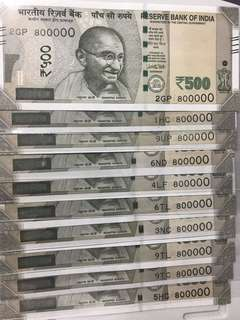 (800000) lucky number new indian 500 Rupees Notes