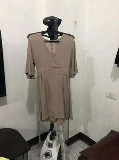 maybeen brown romper skirt dress with tie back ribbon