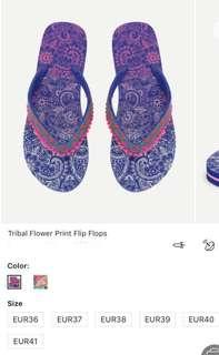 吹氣頸枕 tribal flower print flip flops