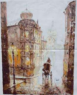 Horse carriage Painted Art - unframe