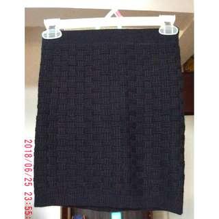 Knitted Black bodycon mini skirt