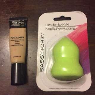 Makeup blending sponge + Makeup Forever Full Coverage Concealer