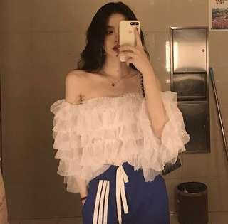 套裝💕 鬼馬少女超仙洋氣套裝~韓國chic甜美露肩蛋糕襯衫+高腰休閒闊腿褲