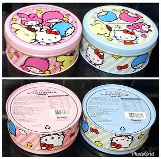 Sanrio Kt MM Pn Ts 2017 鉄罐 曲奇 $35/2盒 (全新, 不散賣, 直徑13cm, 到期日19/3/22)