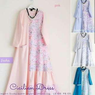 MF - 0418 - Dress Gamis Busana Muslim Wanita Cicilian Maxi