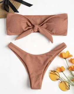 Bowknot Rib Bandeau Bikini Set - Dark Salmon S