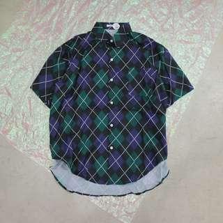 配色菱形造型中性短袖襯衫