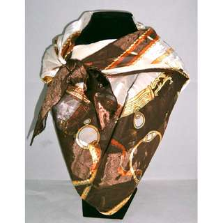 Printed Brown Square Scarf (big)
