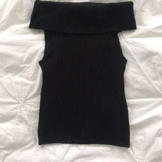Black Mendo Turtle Neck Crop Top