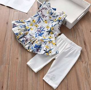 Girls floral vest skirt shirt + pants