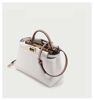 預訂 Fendi style白色卡其撞色大氣高級牛皮包包袋