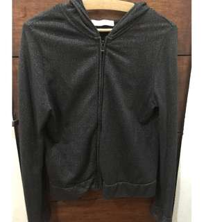 Giordano black hoodie with silver details