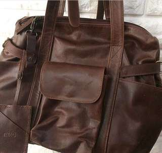 Leather Bag - Mommy Baby Bag
