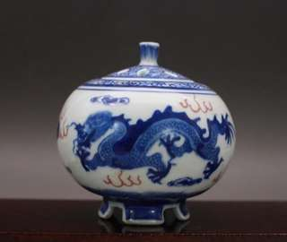 Blue and White Incense Burner Dragon Logo Decoration