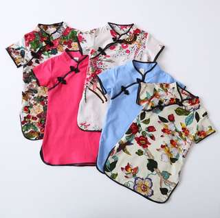 Girls short-sleeved collar cotton and linen printed