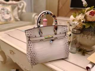 預訂 Hermes Birkin同款高檔鰐魚紋白色進口頭層牛皮手提包👜手袋