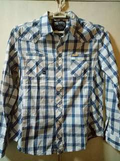 Checkered Blue & White BNY Polo (long sleeve)