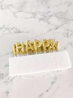 Gold alphabet happy birthday cake topper candle