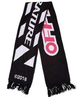 歐洲預代購~OFF-WHITE FIRETOP 經典LOGO黑圍巾