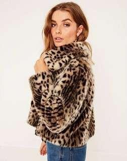 Leopard Print Faux Coat Cropped