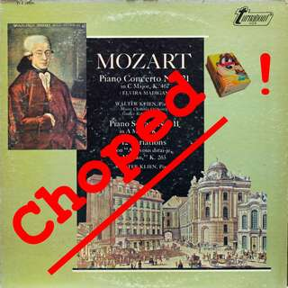 mozart Vinyl LP used, 12-inch, may or may not have fine scratches, but playable. NO REFUND. Collect Bedok or The ADELPHI.