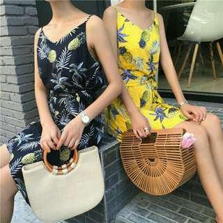 Chiffon Summer Dress Sexy Pineapple Print