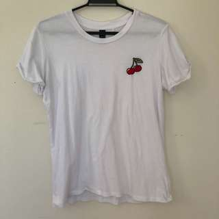 Cherry Print White Tshirt