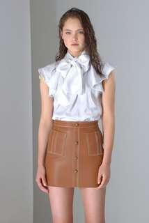 Aje Genuine Leather Shrimpton White Stitch Mini Skirt in Tan - Size 8 RRP $390