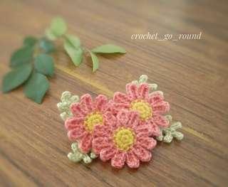 Handmade Margarita Flower Brooch(3 flowers)-Shabby pink