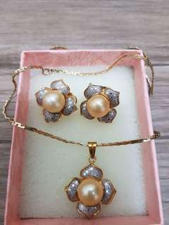 South Sea Pearls set with 10k Karat Gold