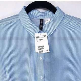 NEW h&m stripe blue shirt