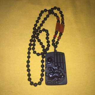 {FS138} Auspicious Obsidian Pi Xiu Pendent With Obsidian necklace