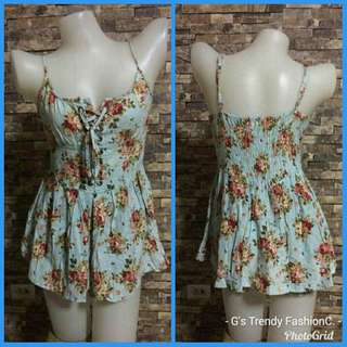 Sleeveless front lace-up Floral cami rompers