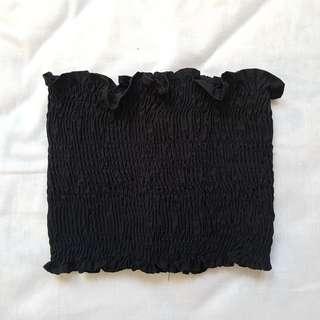 BLACK RUFFLED TUBE TOP
